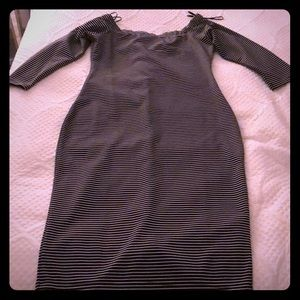 Black & White Striped Off the Shoulder Midi Dress